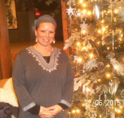 Beautiful Kristin at the Christmas tree